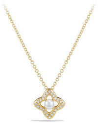 David Yurman 5mm Venetian Quatrefoil Pearl Diamond Necklace