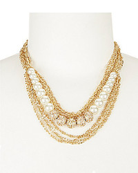 Belle Badgley Mischka Pearls Pave And Rhinestone Multi Strand Necklace