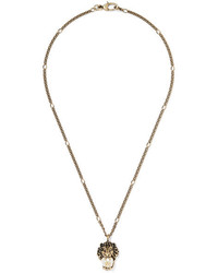 Gucci Burnished Gold Tone Faux Pearl Necklace