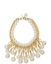 Junya Watanabe Gold And Off White Flake Edition Pearl Stud Necklace