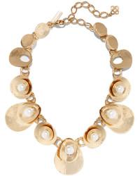 Oscar de la Renta Gold Plated Faux Pearl Necklace
