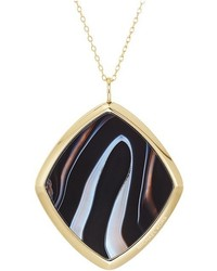 Michael Kors Michl Kors Fashion Long Necklace With Single Black Agate And Mother Of Pearl Pendant Necklace