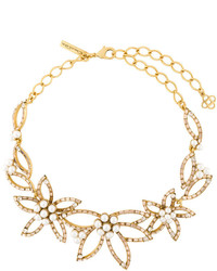 Oscar de la Renta Pearl Embellished Flower Necklace