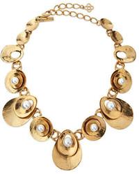 Oscar de la Renta Pearly Golden Disc Station Necklace