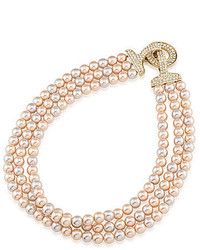 Carolee Plaza Pink Pearl And Crystal Triple Row Necklace