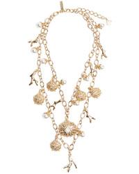 Oscar de la Renta Urchin Crystal Pearl Necklace