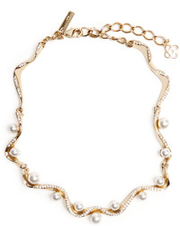 Oscar de la Renta Waved Crystal Pearl Necklace