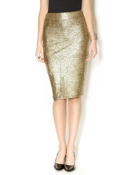 Lucy Paris Metallic Gold Pencil Skirt