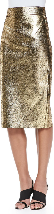0dc02d5439f ... Raoul Metallic Leather Pencil Skirt ...
