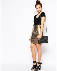Poppy Lux Lorena Pu Metallic Skirt