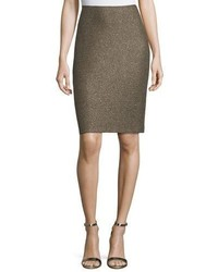 St. John Collection Casablanca Glimmer Knit Pencil Skirt Caviargold
