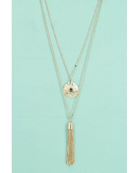 Boohoo Anya Pendant And Tassel Layered Necklace