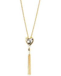 Charlotte Russe Rhinestone Heart Tassel Pendant Necklace