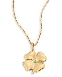 Aurelie Bidermann Clover Tsavorite 18k Yellow Gold Pendant
