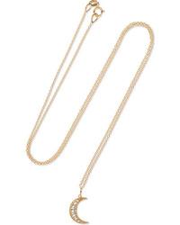 Andrea Fohrman Crescent Moon 18 Karat Gold Diamond Necklace