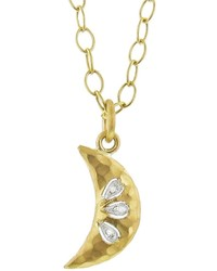 Cathy Waterman Crescent Moon Necklace With Diamonds