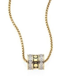 John Hardy Dot Diamond 18k Yellow Gold Roller Pendant Necklace