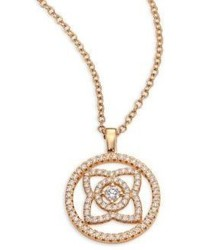 De Beers Enchanted Lotus Openwork Diamond 18k Rose Gold Pendant Necklace