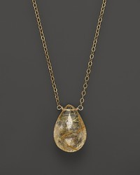 Bloomingdale's Faceted Rutilated Quartz Simple Drop Briolette Necklace 17