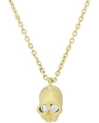 Finn Diamond Gold Skull Pendant Necklace