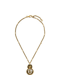 Gucci Gold Double G Lion Head Necklace