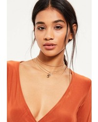 Missguided Gold Layered Drop Pendant Choker Necklace