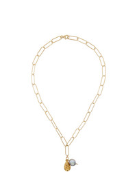 Alighieri Gold Pearl The Solitary Tear At Dusk Necklace