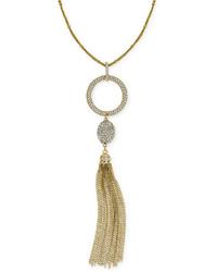 INC International Concepts Gold Tone Crystal Pav Circle Pendant Tassel Necklace