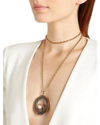 Alcozer & J Granite Pearl Charms Locket Necklace