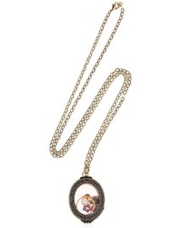Alcozer & J Granite Pearl Charms Locket Necklace