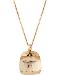 Roberto Coin Martellato 18k Rose Gold Rock Crystal Pendant Necklace