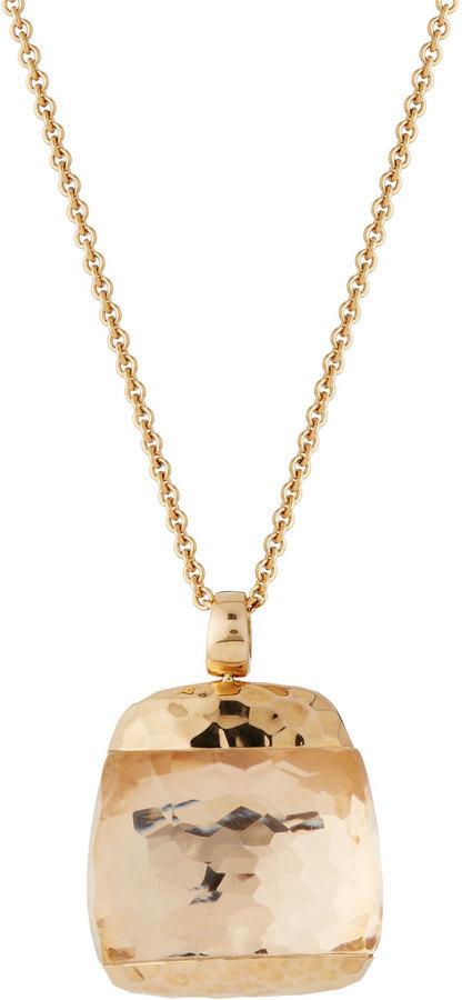 Roberto Coin Martellato 18k Rose Gold Rock Crystal Pendant Necklace