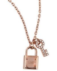 Michael Kors Michl Kors Lock Key Pendant Necklace Rose Golden