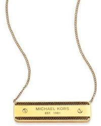 Michael Kors Michl Kors Logo Plaque Pendant Necklace
