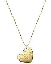 Michael Kors Michl Kors Logo Script Heart Pendant Long Necklace
