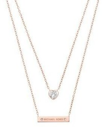 Michael Kors Michl Kors Modern Brilliance Crystal Double Strand Pendant Necklacerose Goldtone