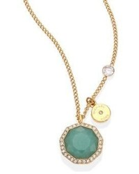 Michael Kors Michl Kors Urban Rush Green Jade Crystal Goldtone Stainless Steel Pendant Necklace