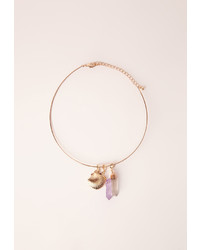 Missguided Changeable Charm Detail Choker Necklace Gold