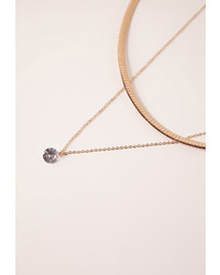 Missguided Double Layer Diamante Pendant Choker Necklace Gold