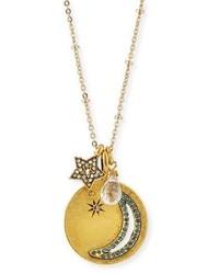 Sequin Moon Star Talisman Pendant Necklace
