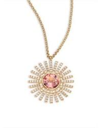 Astley Clarke Rising Sun Diamond Pink Tourmaline 14k Yellow Gold Pendant Necklace