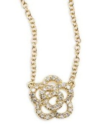 Ef Collection Rose Diamond 14k Yellow Gold Pendant Necklace