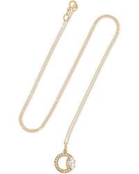 Andrea Fohrman Small Waningwaxing Gibbous Moon 18 Karat Gold Diamond And Necklace