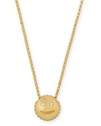 Roberto Coin Tiny Treasures Smiley Emoji Pendant Necklace With Diamonds