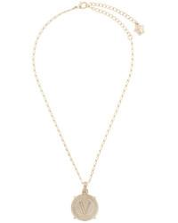Versace V Coin Pendant Necklace
