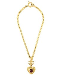Chanel Vintage Heart Pendant Necklace