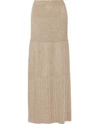 Pleated metallic crochet knit maxi skirt gold medium 696600