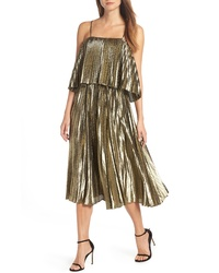 J.Crew Collection Gold Lame Pleated Midi Dress