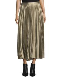 Derek Lam Metallic Accordion Pleated Midi Skirt Gold