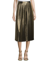 Elizabeth and James Lucy Pleated Lam Midi Skirt Gold